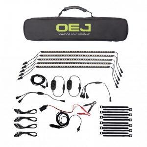 OEJ | New 5 Bar LED Camp Light Kit | Dimmer | Magnet & Sticking Material Wrap