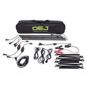 OEJ | 4 Bar Dual Colour LED Camp Light Kit | White/Orange Light | Dimmer | Magnet & Sticking Material Wrap New